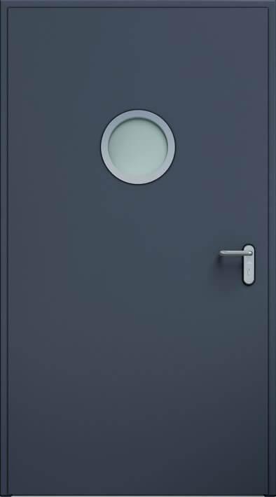 Dvere ECO BASIC, guľaté okienko 32 mm | Antracit