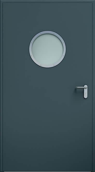 Dvere ECO, guľaté okno | RAL 7016