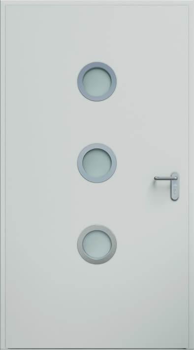 Dvere ECO BASIC, guľaté okienko 24 mm | RAL 7035