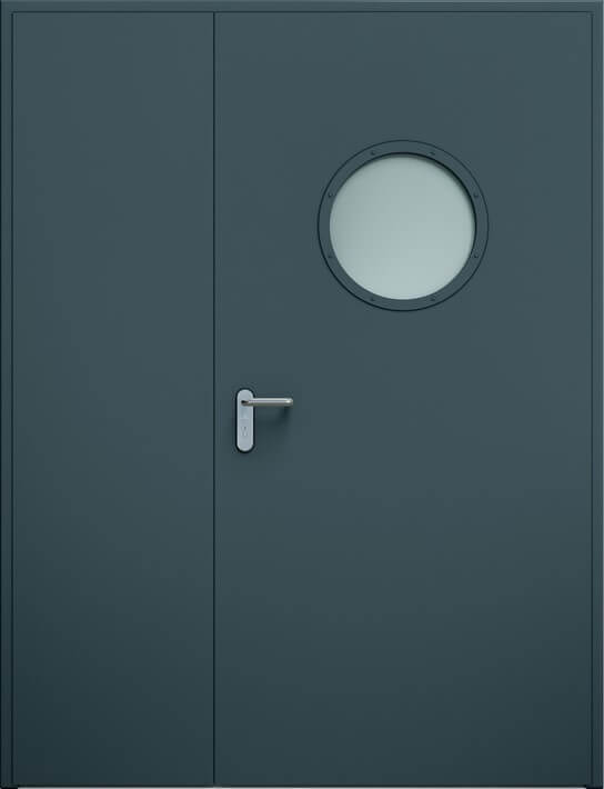 Dvoukrídle dvere ECO nesymetrické, guľaté okienko | RAL 7016
