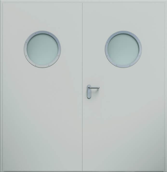 Dvoukrídle dvere ECO, guľaté okienko | RAL 7035