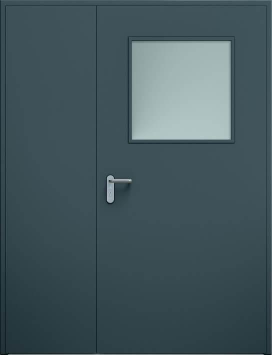 Dvoukrídle dvere ECO nesymetrické, zasklenie | RAL 7016